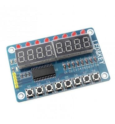Afficheur 8 chiffres 7 segments, 8 LEDs, 8 boutons TM1638