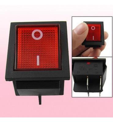 Interrupteur à bascule 16A Voyant rouge DPST 4 broches