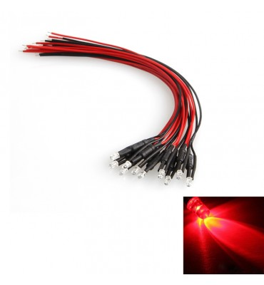 10pcs LED Pre-wired Red Light Diode DC 12V 18cm 3mm