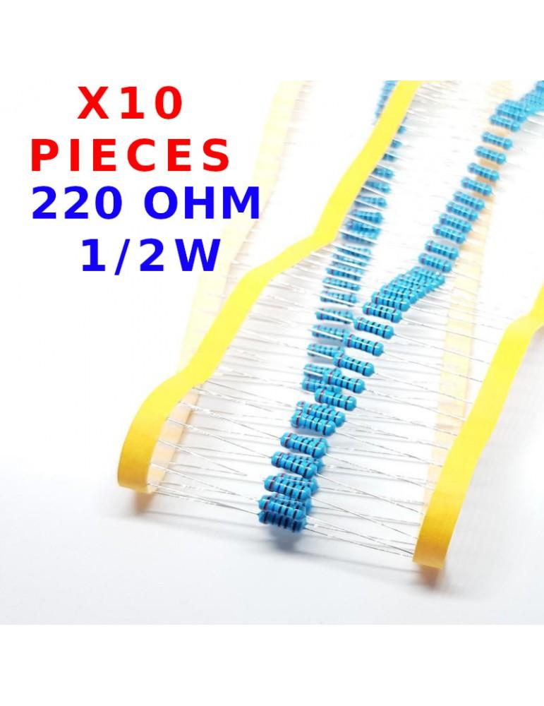 vs-elec x10 Pcs 220 Ohm R/ésistance M/étal traversante /± 1/% 220R 2W