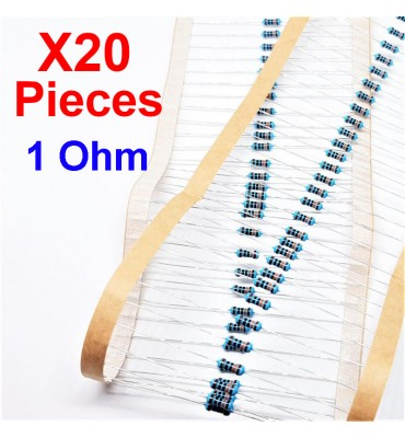 x20 Pcs 1 Ohm, Through Hole Resistor, ± 1% 1R 1/4 W 0.25 MF25