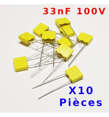 x10 Pcs Capacitor Polyester 100V 33nF (333)
