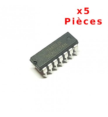 X5 Pcs 74LS74N, Double Toggle D + Set / Reset DIL14 DIP14
