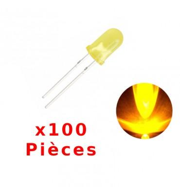 x100 gelbe LED 5mm runde mattierte Diode